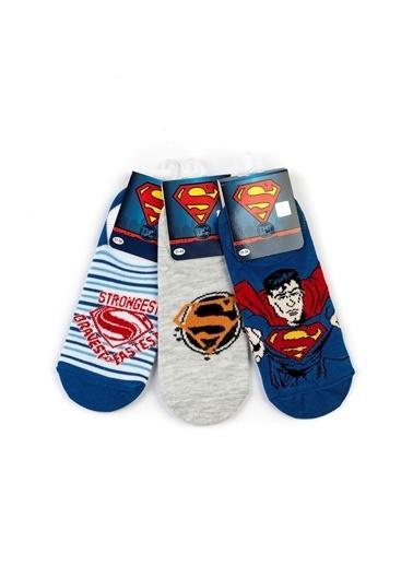 Superman  6 Çift Sneaker Çorap 15978 Mavi